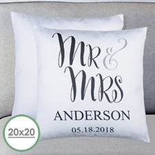 Sr. y Sra. Personalized Large Pillow Cushion Cover 50,80 cm x 50,80 cm (sin suplemento)