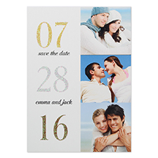 Glitter Collage For Two Personalized Photo Wedding Announcement Cards