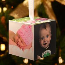Foto-cubo de madera personalizado con galería de fotos adorno navideño