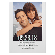Glitter Two Become One Personalized Photo Wedding Announcement Cards