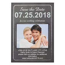 Chalkboard Love Personalized Photo Save The Date Card, 5X7