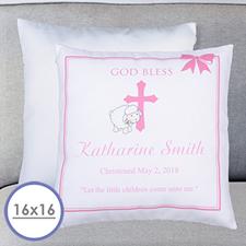 Almohada personalizada de bautizo para niñas Funda de almohada 40.64 cm x 40.64 cm (sin inserto)