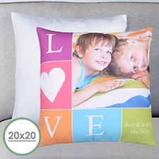 Foto de amor Personalizada Gran almohada Funda de almohada 50.80 cm x 50.80 cm (Sin inserto)