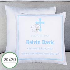 Cojín personalizado de bautizo de niños Funda de almohada grande 50.80 cm x 50.80 cm (sin relleno)