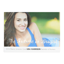 Foil Silver The Future Is Bright Personalized Photo Graduation Announcement Cards