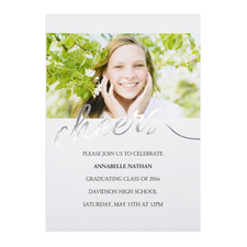 Foil Silver Cheers Personalized Photo Graduation Announcement, 5X7 Cards