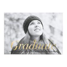 Foil Gold Script Graduate Personalized Photo Graduation Announcement Cards