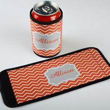 Envoltura de botella   y lata personalizada con chevrón mandarín