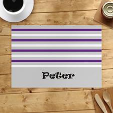 Alfombra personalizada de rayas gris, blanca y púrpura