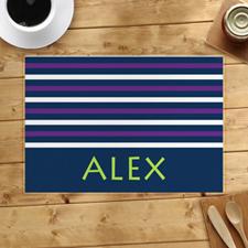 Alfombrilla personalizada de franjas blancas y púrpuras de la Marina