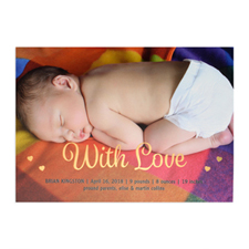 With Love Foil Gold Personalized Photo Birth Announcement, 5X7 Cards