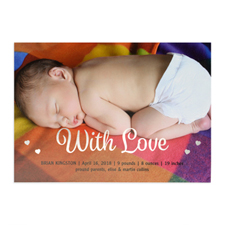With Love Foil Silver Personalized Photo Birth Announcement, 5X7 Cards