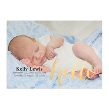 Foil Gold Hello Personalized Photo Birth Announcement, 5X7 Cards