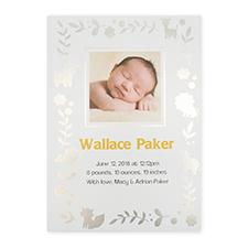 Foil Silver Animal Kingdom Personalized Photo Birth Announcement Cards