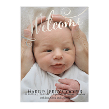 Welcome Foil Silver Photo Birth Announcement, 5X7 Cards