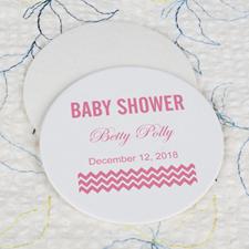 Portavasos redondo personalizado para baby shower en color rosa