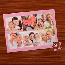 Personalizado rosado bebé  6 colage 30.48 cm x 41.91 cm Photo Puzzle