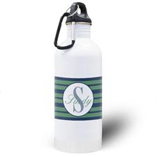Botella de agua personalizada de rayas azules de la Marina