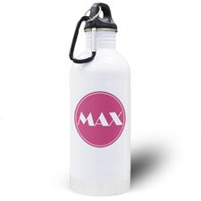 Botella de agua personalizada con nombre rosado