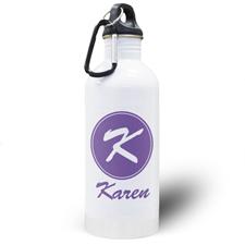 Botella de agua personalizada con nombre Púrpura