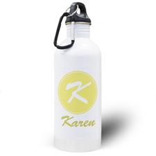 Botella de agua personalizada con nombre amarillo