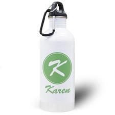 Botella de agua personalizada con nombre verde