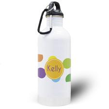 Botella de agua con lunares de colores personalizada