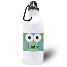 Botella de agua personalizada para niños con Búho Verde