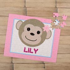 Monkey Girl Personalized Kids Puzzle