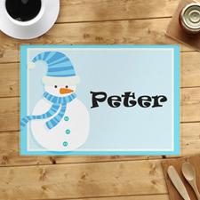 Alfombrilla personalizada de muñeco de nieve azul claro