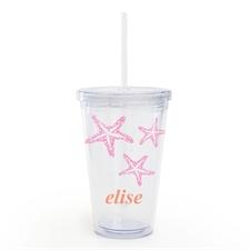 Nombre personalizado Vaso de doble pared de acrílico de estrella de mar rosa