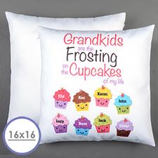 Funda de almohada personalizada con ocho cupcakes 40.64 cm x 40.64 cm (sin inserto)