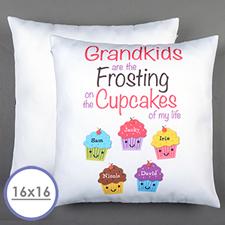 Funda de almohada personalizada de cinco cupcakes 40.64 cm x 40.64 cm (sin inserto)