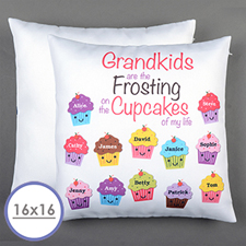Funda de almohada personalizada de doce cupcakes 40.64 cm x 40.64 cm (sin relleno)