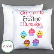 Cinco cupcakes Personalizado Gran Almohada Cojín Cubierta 50.80 cm x 50.80 cm (Sin Insertar)