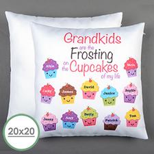 Doce cupcakes Personalizado Gran almohada Funda de almohada 50.80 cm x 50.80 cm (Sin inserto)