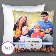 Large customised blue frame cushion 45.72 cm x 45.72 cm (without surcharge)
