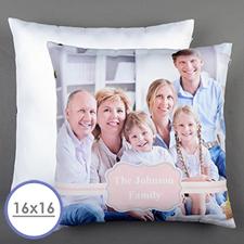 Funda de almohada personalizada de marco rosa 40,64 cm x 40,64 cm (sin relleno)