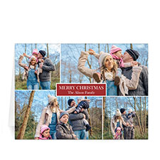 Custom Printed 4 Photo Collage Red Greeting Card