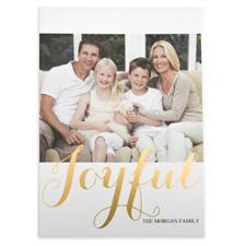 Foil Gold Joyful Personalized Photo Christmas Card