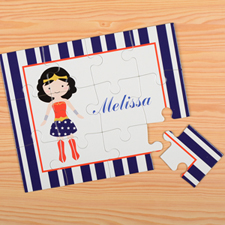 Supergirl Personalized Kids Puzzle, Blue Stripe