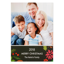 Floral Holiday Personalized Photo Christmas Card