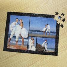 Personalizado negro 4 colage 30.48 cm x 41.91 cm  30.48 cm x 41.91 cm Photo Puzzle