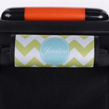 Lime Chevron Aqua Personalized Luggage Handle Wrap