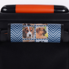 Navy Chevron Collage Personalized Luggage Handle Wrap