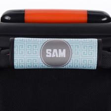 Aqua Grey Greek Key Personalized Luggage Handle Wrap