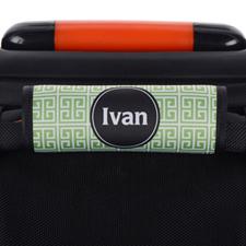 Green Black Greek Key Personalized Luggage Handle Wrap
