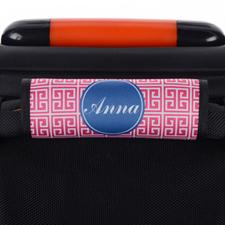 Pink Navy Greek Key Personalized Luggage Handle Wrap