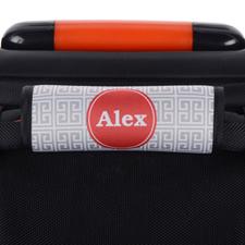 Grey Greek Key Personalized Luggage Handle Wrap