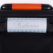 Aqua Hounds Tooth Personalized Luggage Handle Wrap